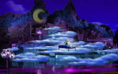 Aladdin scenes to Fantasmic