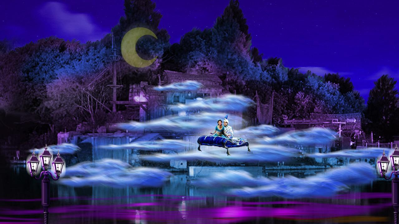 Aladdin scenes to Fantasmic